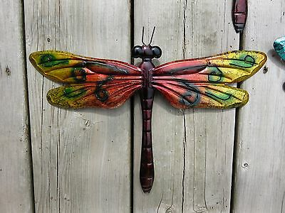 Metal Dragonfly Wall Art Red Gold Green Decor Modern Retro Home Decor 12 In.