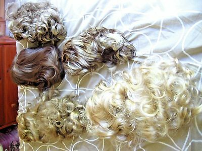 Five Vintage WIgs 1980's 1990's Quality Man Made Fibres Assortd Shades & Lengths