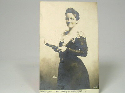 VINTAGE POSTCARD - c1907 EDITH (MRS THEODORE) ROOSEVELT WITH BOOK