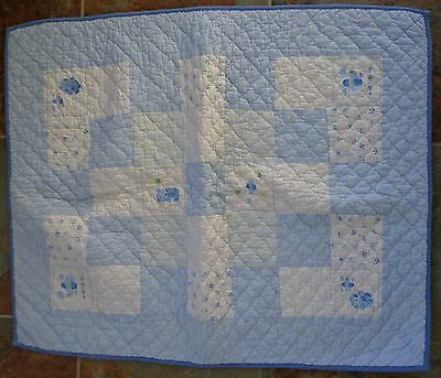 BABY BOY Quilt Blue White Sweet Baby Boy Blanket Plane Teddy Bear 40 x 32 CUTE
