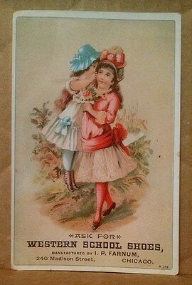 Vintage Trade Card Western School Shoes I. P. Farnum Chicago Illinois