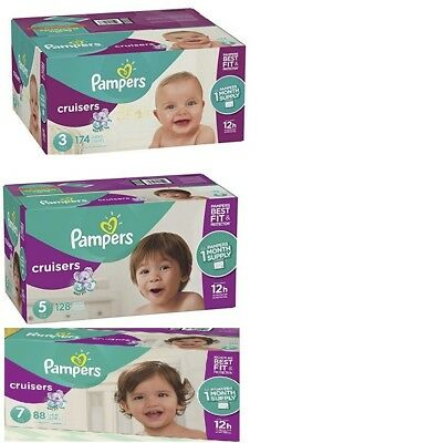 FREE shipping Pampers Cruisers Diapers Sizes 3-7 U pick the size & Quanity