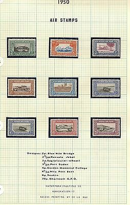 SUDAN 1948-51 KGVI ISSUES 1950 AIRS, 1951 TO 50p, 1948 10m  MISPLACED VIGNETTE
