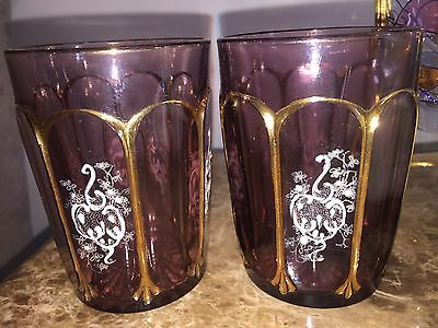 Antique Victorian Hand Painted Amethyst Tumblers