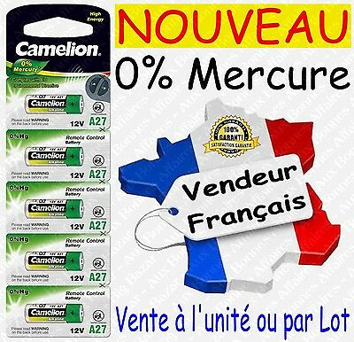Piles/Battery Alcaline 12V LR27A 27A A27 MN27 GP27A ( 0% Mercure ) : x1 ou lot