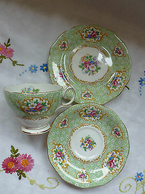Vintage Gainsborough Queen Anne China, Tea Trio, Cup, Saucer, Plate, Green/pink