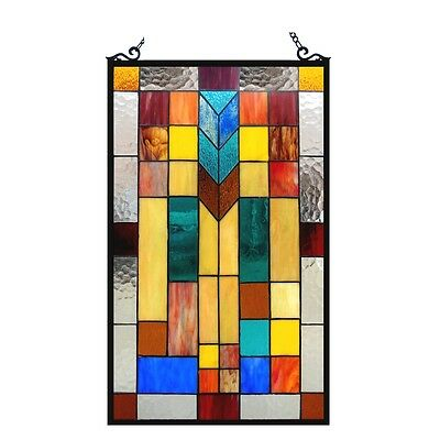 """Stained Glass Tiffany Style Window Panel Modern Arts & Crafts Design 16"""" x 26"""""""