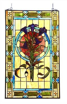 """Tulip Design Tiffany Style Stained Cut Glass Window Panel  20"""" Wide x 32"""" Tall"""