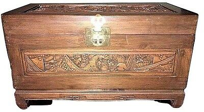 +Vintage Anique Small Carved Oriental Blanket Chest