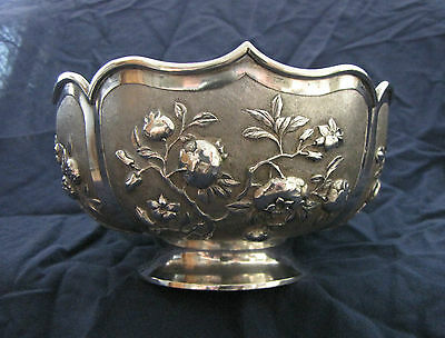 very rare antique chinese silver lotus bowl made by zeewo