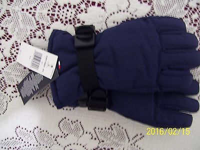 NWT Tommy Hilfiger Navy Blue Polyester boy girl gloves size 4-7 adjustable Free