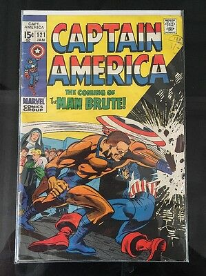 """Captain America #121_January 1970_Very Good_""""the Coming Of The Man-Brute""""!"""