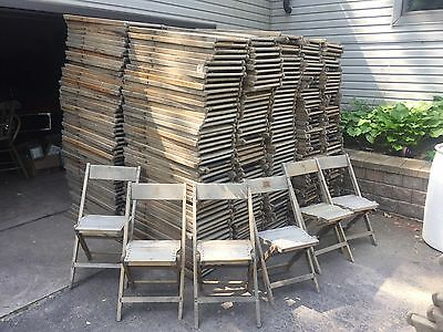 Vintage Wood Wooden Folding Chair Lot 6 Snyder Chairs Antique Church Wedding