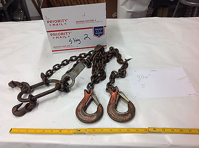 "5650 Lb 9/32"" x 60""  2-Leg Lift Ringing Chain Sling w/Chokers w/Spec Tag lot#2"