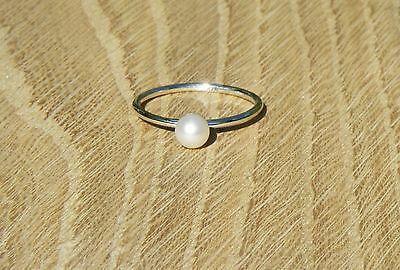 Handmade Sterling Silver Stack Ring with White Freshwater Pearl, Approx Size R