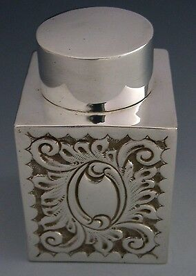 Beautiful Edwardian English Sterling Silver Tea Caddy / Canister 1903 Antique