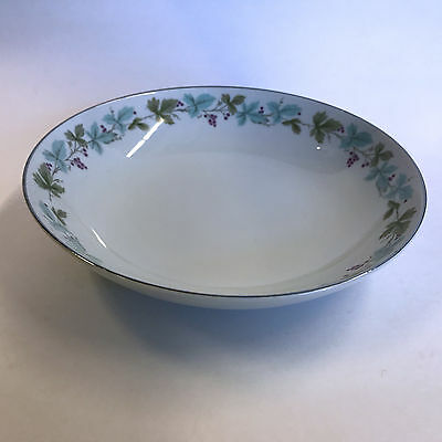 Fine China of Japan Vintage Serving Bowl Blue Green Leaves Purple Grapes 9-1/4""