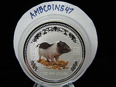 2007 Australia Lunar Series I Silver 1 Oz .999 $1 Year Of The Pig COLORIZED