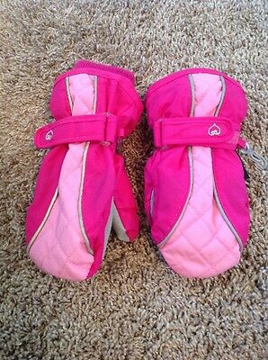 The Children's Place Thermolite  Insulated Size 3T-4T Pink Velcro Gloves