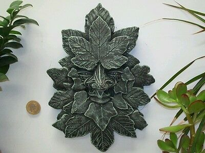 Green wiccan pagan celtic garden ornament  sycamore design frost hanging plaque