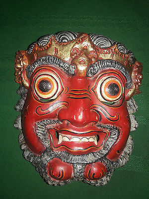 Antique Japanese red wood demon mask