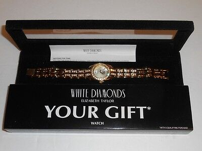 Elizabeth Taylor White Diamonds Gold Tone Watch New Old Stock In Gift Box