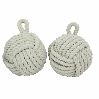 X2 Large Heavy Rope Square Knot Cube Ball Nautical Door Stop stopper 2PCS