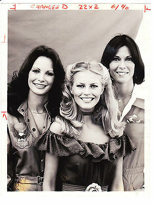 1977 CHARLIE'S ANGELS press photo- CHERYL LADD, JACKSON, SMITH (snipe attached)