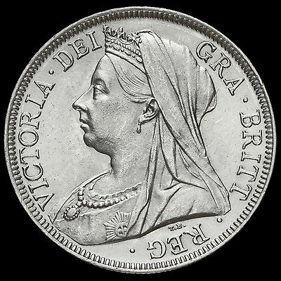1900 Queen Victoria Veiled Head Silver Half Crown, A/UNC