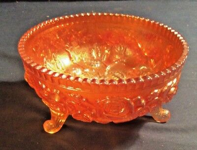 Northwood Carnival Glass Footed Bowl with Roses