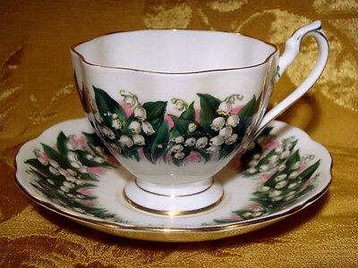 Queen Anne *lily-Of-The-Valley*  Footed Tea Cup & Saucer Made In England