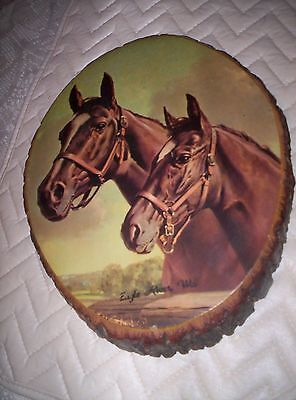 """Vintage Wooden  Horse Plaque From 1977 About 10""""x 8"""""""