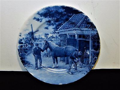 "Vintage Dutch Blue Wall Plate 1984 Ter Steege Delft Blauw 7.1/2"" Horse Farrier"