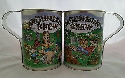 Mountain Brew Large Tin Cups Hillbilly Moonshine Set of 2 Fun