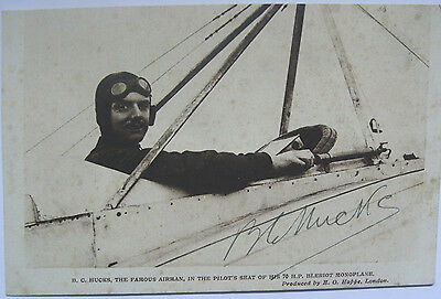 B.c. Hucks Aviator Autographed Card The First Man To Loop The Loop