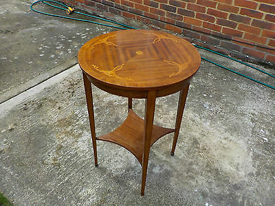 Antique Edwardian Scroll & Leaf Inlaid Light Mahogany Two Tier Round Side Table