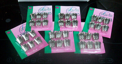 144 sewing box silver coloured metal thimbles 24 packs of 6 size 18mm aprox