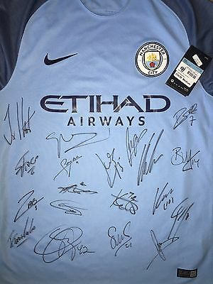 Manchester City 2016/17 Signed Shirt, Aguero, Silva, Pep, De Bruyne, Proof