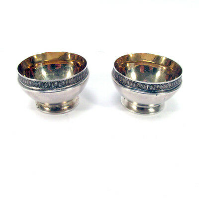 Pair Antique S.F. Cal Sterling Silver Master Salts