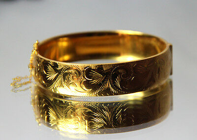 SALE Foliate Engraved 9ct Gold Metal Cored 20 Microns Bangle Safety Chain
