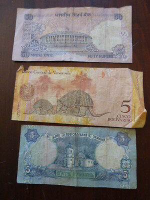World Paper Money India 50 Rupees Circulated Venezuala 5 Bolivares 5 Ykpaiha