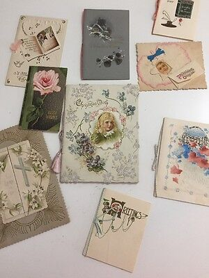Lot of 9 Antique Greeting Cards Christmas Mirth Best Wishes Friendship Offering