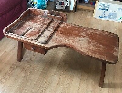 "Antique wood 37"" COBBLERS BENCH coffee table primitive Vintage Hand Made Drawer"
