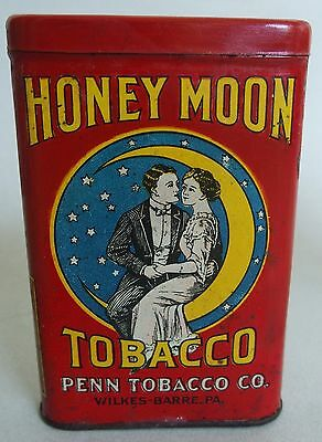 "Htf ""honey Moon"" Two On The Moon"" Vp Advertising Tobacco Tin Near Mint Rare One!"
