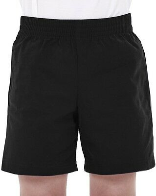 Boys 100% Cotton Football 2 PACK Gym Sports School P.E  Rugby Shorts