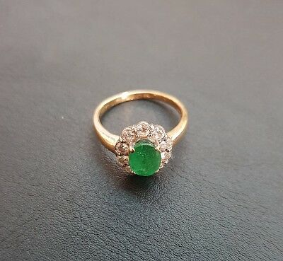 18k Gold Emerald and Diamond Cluster Ring