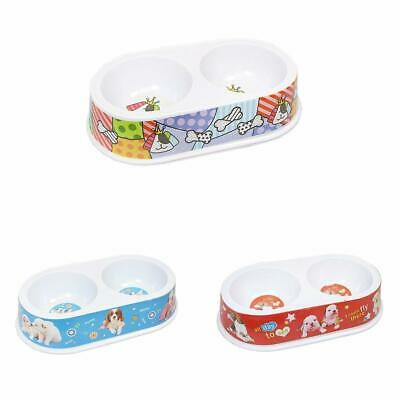 DOG BOWL Cat Puppy Pet Non Slip Food Water DOUBLE FEEDING DISH ASSORTED COLOUR
