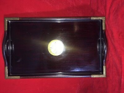Vintage Oriental Rose Wood Wooden Tray With Brass Corner Fittings