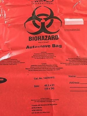 "Tufpak VWR 14230-912 Autoclavable Biohazard Bag, Red, 19"" W x 24"" H Case of 200"