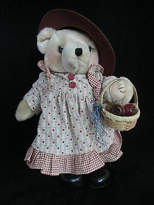 """Tender Heart Treasures 13"""" Jointed Plush Dressed Bear Ready to Make Apple Pie"""